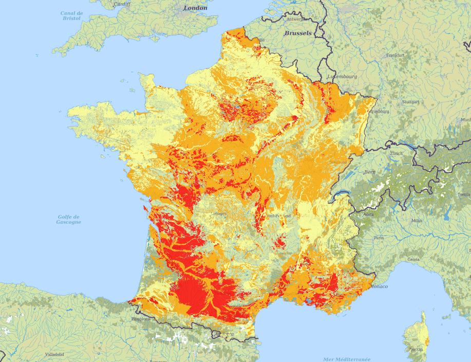 Carte des zones à risques RGA